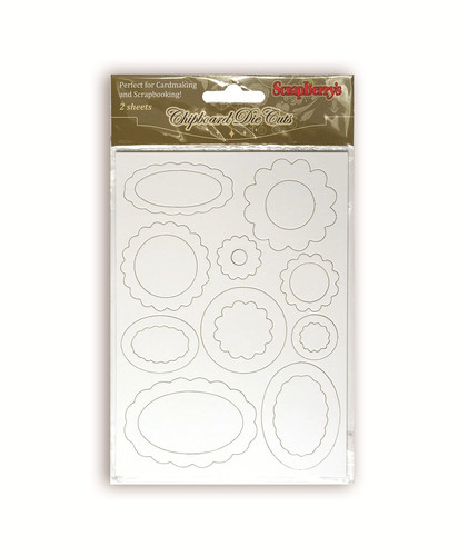 Chipboard die cuts White tags, 2 cards, bundle