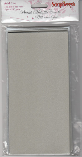 Blank cards 105*210mm, 240 gsm SILVER METALLIC, 5 cards with envelopes, pack