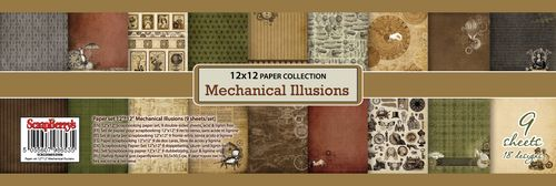Paper Collection Set Mechanical Illusions (12*12–190GSM), 9 sheets