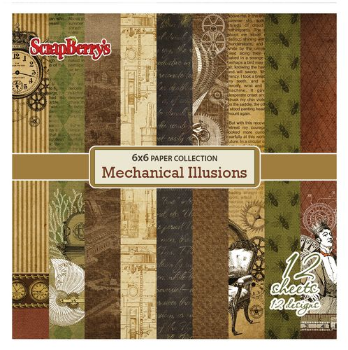 Paper Collection Set Mechanical Illusions (6*6-190GSM), 12 Single Sided Sheet Pack