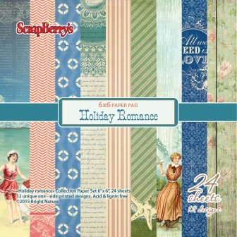 Paper Collection Set Holiday Romance (6*6-170GSM), 24 Single Sided Sheet Pack