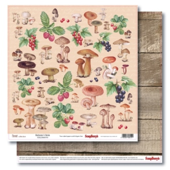 Double-sided paper 12x12 Forest Mushrooms & Berries 190gsm (10 sheets per pack)