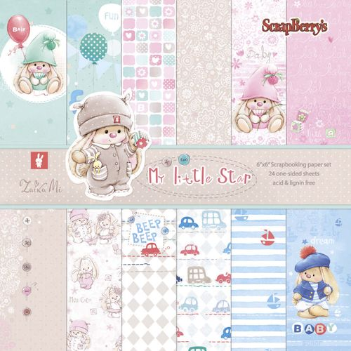 Paper Collection Set My little Star (6*6-190GSM), 24 Single Sided Sheet Pack
