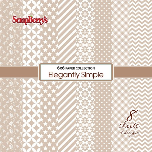 Paper Collection Set Elegantly Simple - Iced Coffee (6*6-190GSM), 8 Single Sided Sheet Pack