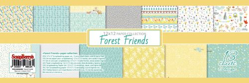 Paper Collection Set Forest Friends (12*12-190GSM), 13 Sheets