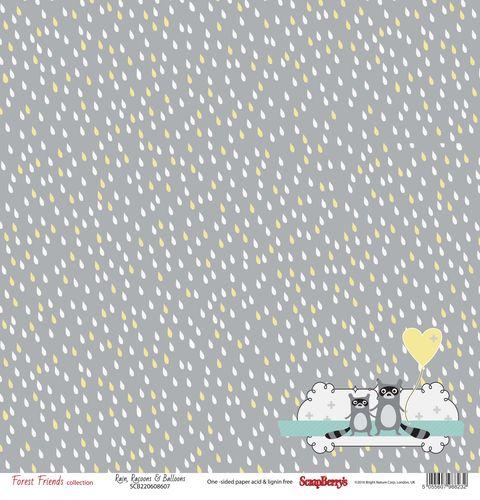 Single-sided Paper Set (12*12 190GSM) Forest Friends - Rain, Raccoons & Balloons , 1 Sheet