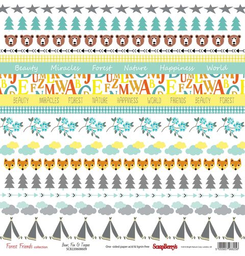 Single-sided Paper Set (12*12-190GSM) Forest Friends - Bear, Fox & Teepee , 1 Sheet