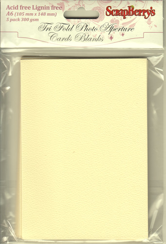 Tri-fold cards A6, 300gsm CREAM, 5 cards without envelopes, pack