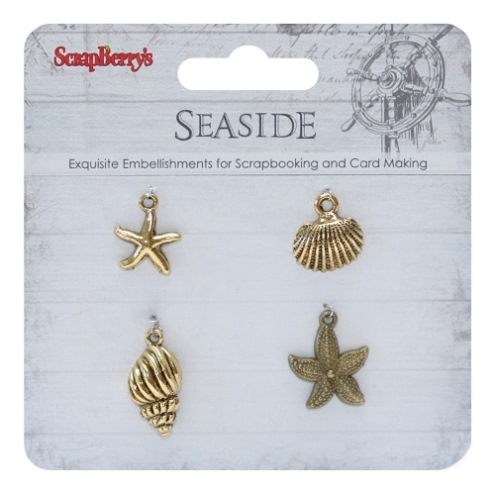 Metal charms set SeaSide 2, 4 pcs