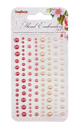 Adhesive pearls 120pcs/4 colors, Floral Embroidery 2