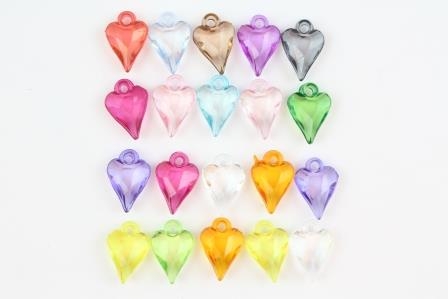 Acrylic Decorative Pendant (20 piece set) Faceted Hearts