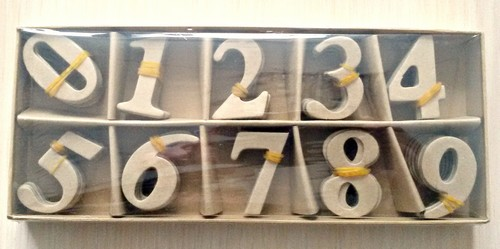 Papier-Mache Numbers 0-9 (Box 9x22cm, Numbers – 4cm) (10 Piece per Number Set)