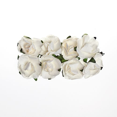 Paper Flowers – Rose – White (8 Pieces Per Pack)