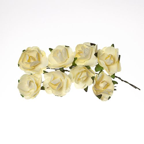Paper Flowers – Rose – Cream White (8 Pieces Per Pack)