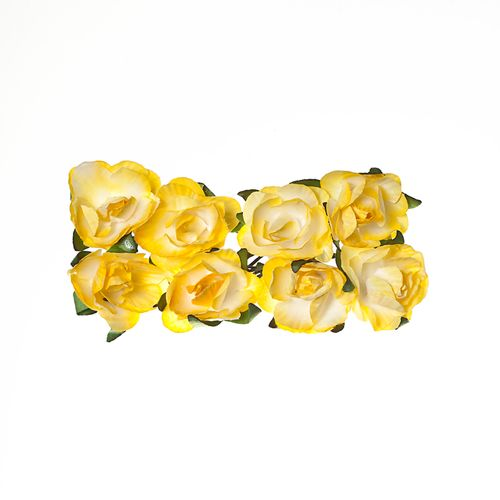 Paper Flowers – Rose – Light Yellow (8 Pieces Per Pack)