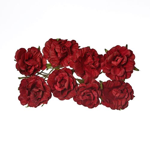 Paper Flowers - Curly Rose – Burgundy (8 Pieces Per Pack)