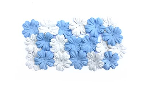 Mulberry Paper Flowers Set (20pcs) (28mm, ) Sky Blue & White (2 Colours)