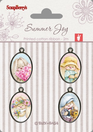 Set of metal elements with epoxy stickers Summer Joy 1, 4 pcs