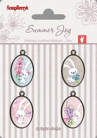 Set of metal elements with epoxy stickers Summer Joy 4, 4 pcs