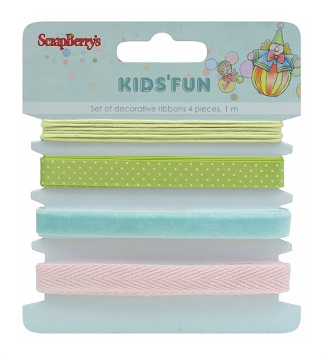 Set of decorative ribbons, Kids and Fun, 4 pieces, 1m each