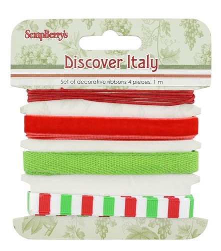Set of decorative ribbons Discover Italy, 4 pcs, 1m each