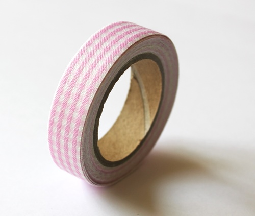 Cotton tape with Pink plaided print №14 15mm*4m SCB490044
