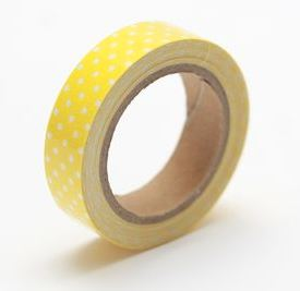 Cotton tape with yellow spotted print №46 15mm*4m SCB490047