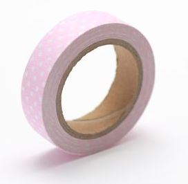 Cotton tape with pink spotted print t №47 15mm*4m SCB490048