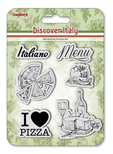 Set of stamps 10,5*10,5cm Discover Italy. Menu SCB4904014b