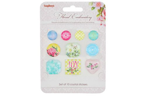 Crystal stickers decoration. Floral Embroidery Set of 10 crystal stickers