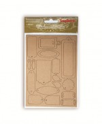 Chipboard die cuts Craft tags, 2 cards, bundle