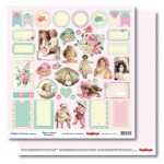 Double-sided Paper Set Mother's Treasure - Buttons & Bonnets (12*12–190GSM), 10 Sheet Pack