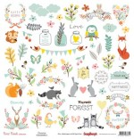 Single-sided Paper Set (12*12-190GSM) Forest Friends – Decoration , 1 Sheet