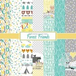 Paper Collection Set Forest Friends (6*6-190GSM), 12 Single Sided Sheet Pack