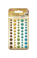 Adhesive gems faceted 50pcs/5colors Around the World 2