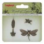 Metal charms set Wind of Travel, 4 pcs