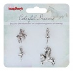 Metal charms set Colorful Dreams, 4 pcs
