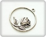 Charms set Rose in a Round Frame 36*35mm, 10 pcs