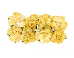 Paper Flowers - Curly Rose – Light Yellow (8 Pieces Per Pack)
