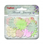 Paper printed blossoms, French Journey, 24 pieces