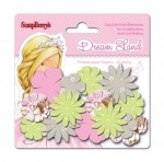 Paper printed blossoms Dreamland, Pink flowers 24 pcs