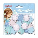 Paper printed blossoms Dreamland, Blue flowers 24 pcs