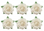 Tea roses' flowers, -18 mm diameter, 6 pcs, white