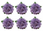 Tea roses' flowers, -18 mm diameter, 6 pcs, purple