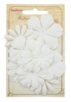 Mulberry Paper Flowers Set (10 Pieces) White