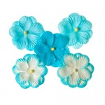 Pansies, Handmade Mulberry Double Paper Flowers 5 pieces, turquoise