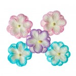 Pansies, Handmade Mulberry Double Paper Flowers 5 pieces, pastel