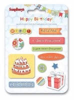 Epoxy Stickers Happy Birthday (RU)