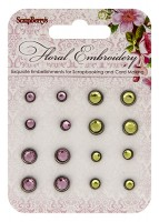 Rhinestone brads Floral Embroidery, 16 pcs
