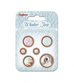 Set of wooden button Winter Joy, 6 pcs